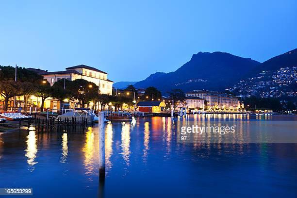 Die Ufer von Lugano, Schweiz, Kanton Tessin