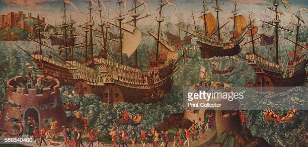 The Embarkation at Dover' circa 1540 Henry VIII and his fleet setting sail from Dover to Calais on 31 May 1520 on the way to meet Francis I at The...