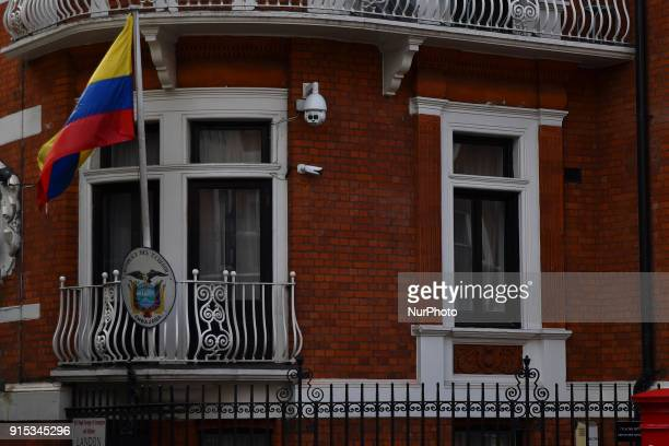 The Embassy of Ecuador is pictured in Central London on February 7 2018 Wikileaks founder Julian Assange will continue to face arrest if he leaves...