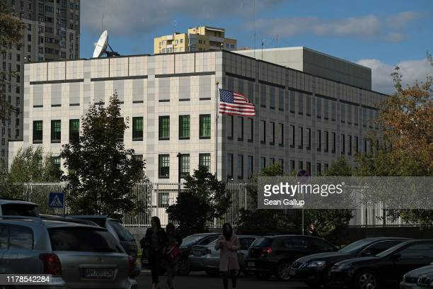 The embassy of the United States of America stands on October 01 2019 in Kiev Ukraine Ukraine has found itself at the core of a political storm in US...