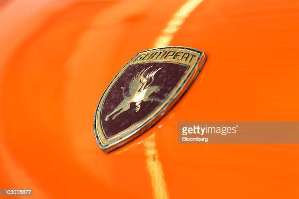 The emblem of a Gumpert Apollo supercar is photographed before being driven on the track at Monticello Motor Club in Monticello, New York, U.S., on...