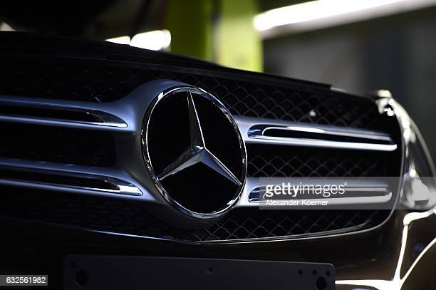 The emblem of a Mercedes-Benz of C-Class car is pictured on the assembly line of Mercedes-Benz on January 24, 2017 in Bremen, Germany. Daimler AG,...