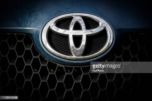 The emblem of a Toyota car is seen in Bydgozcz, Poland on March 8, 2019.