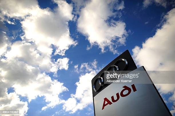 The emblem of car manufacture Audi is pictured on September 28 2015 in Neustadt am Rubenberge Germany Car manufacture Audi holding has released a...