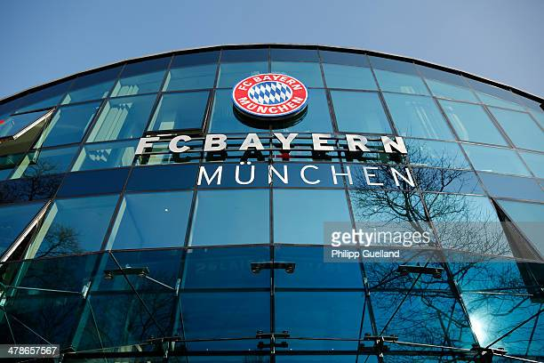 The emblem of first division soccer Club FC Bayern Muenchen is seen at the clubs headquarters after a press conference following the announcement by...