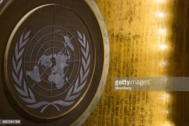 The emblem of the United Nations is seen during the UN General Assembly meeting in New York US on Wednesday Sept 20 2017 Shinzo Abe Japan's prime...