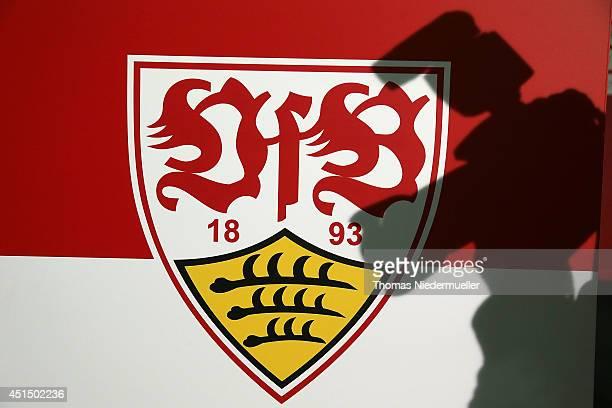 The emblem of VfB Stuttgart is seen the VfB Stuttgart press conference at the Daimler Arena on June 30 2014 in Stuttgart Germany