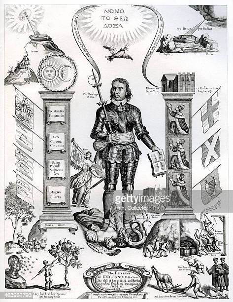 'The Embleme of Englands Distraction as also of her attained and further expected Freedom and Happines per H M 1658' Portrait of military leader and...