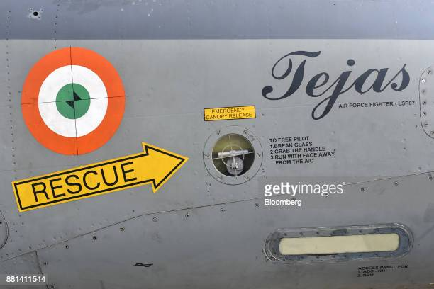 The emergency canopy release of an Indian Air Force Tejas fighter jet developed by Hindustan Aeronautics Ltd is seen at the Kalaikunda Air Force...