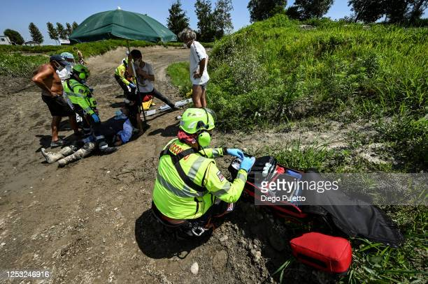 The Emergency medical personnel by helicopter during a rescue operation on June 28, 2020 in Turin, Italy. The HEMS helicopter rescue service was...