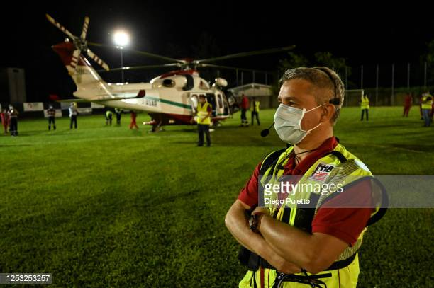 The Emergency medical personnel of the helicopter during a night operation on June 26, 2020 in Turin, Italy. The HEMS helicopter rescue service was...