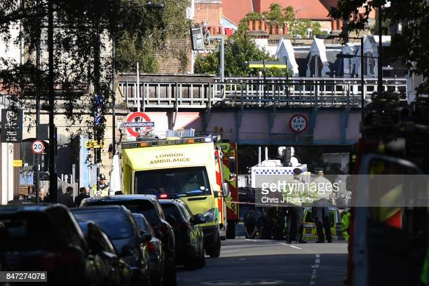 The emergency services are seen near the police cordon at Parsons Green Underground Station on September 15 2017 in London England Emergency services...