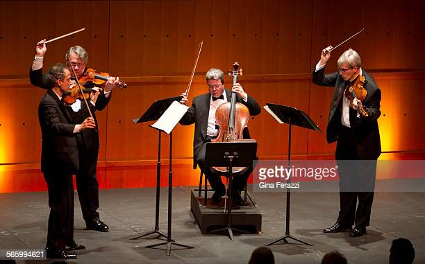 The Emerson String Quartet performs for the first time with new cellist Paul Watkins middle at the intimate Samueli Theater of the Segerstrom Center...