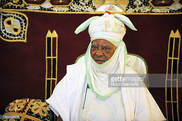 The Emir of Kano Ado Bayero looks on during his meeting with the French Foreign Affairs Minister at the Emir's palace in Kano on November 12 2011...
