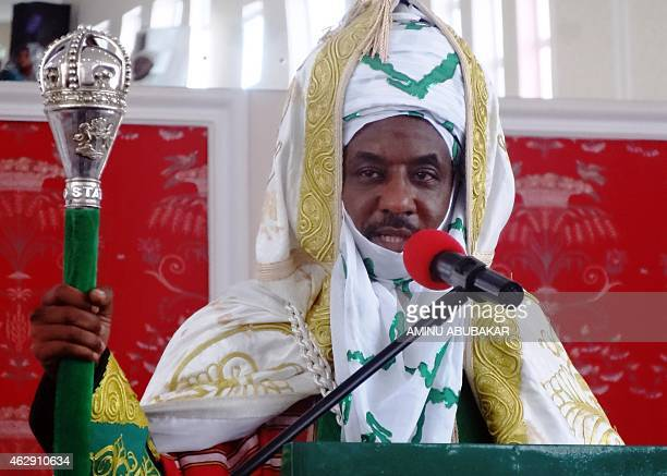 The emir of Kano Muhammadu Sanusi II speaks shortly after receiving staff of office during his coronation as the 57th emir of the ancient Kano...