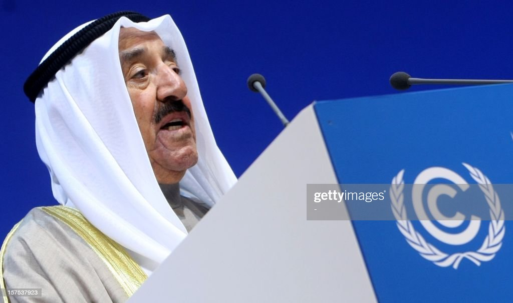 The Emir of Kuwait, Sheikh Sabah al-Ahmad al-Jaber al-Sabah speaks during the opening ceremony of Plenary Session of the High-Level Summit of TRthe United Nations Framework Convention on Climate Change (UNFCCC) in Doha on December 4, 2012.