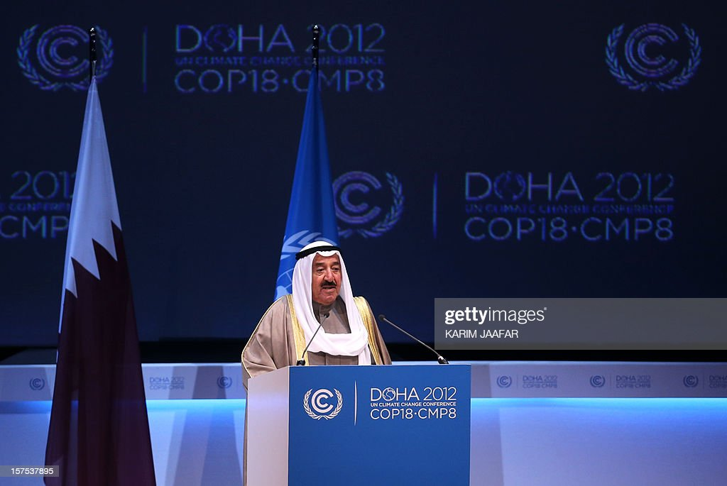 The Emir of Kuwait, Sheikh Sabah al-Ahmad al-Jaber al-Sabah talks during the opening ceremony of Plenary Session of the High-Level Summit of the United Nations Framework Convention on Climate Change (UNFCCC) in the Qatari capital Doha on December 4, 2012. United Nations chief Ban Ki-moon said the world was faced by a global warming 'crisis' and urged bickering negotiators at climate talks in Doha to show 'strong political commitment' and compromise.