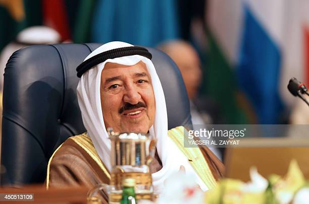 The Emir of Kuwait, Shiekh Sabah al-Ahmad al-Sabah, chairs an Arab and African leaders summit meeting in Kuwait city on November 19, 2013. The summit...