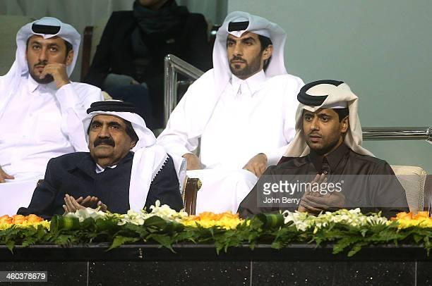 The Emir of Qatar, Sheikh Hamad bin Khalifa Al Thani and Nasser Al-Khelaifi, president of PSG and the Qatar Tennis Federation attend the semi-finals...