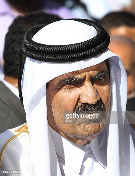 The Emir of Qatar Sheikh Hamad bin Khalifa alThani arrives for a cornerstonelaying ceremony of a Qatarifunded rehabilitation center October 23 2012...
