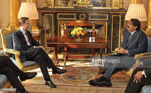 The Emir of Qatar Sheikh Hamad bin Khalifa alThani speaks with Britain's Deputy Prime Minister Nick Clegg during a meeting at Buckingham Palace on 27...