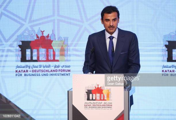 The Emir of Qatar, Sheikh Tamim bin Hamad Al Thani, speaks at the Qatar Germany Business and Investment Forum on September 7, 2018 in Berlin,...