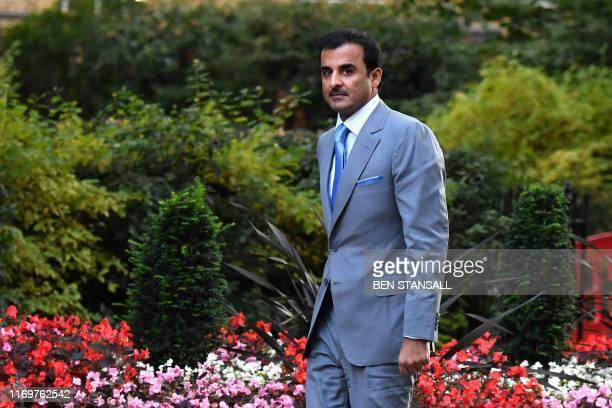The emir of Qatar Sheikh Tamim bin Hamad al-Thani arrives in Downing street in central London on September 20, 2019.