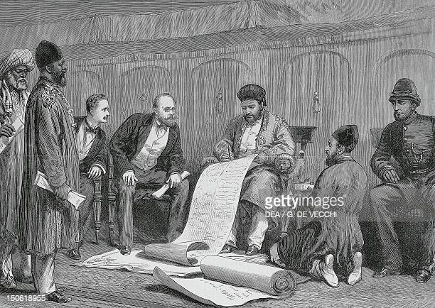 The emir Yakoob Khan and Major Louis Cavagnari signing the Treaty of Gundamuck engraving from a sketch by Simpson, 1879. Second Anglo-Afghan War,...