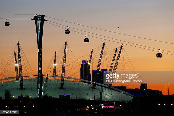 The Emirates Air Line cable car links the O2 Arena in Greenwich southeast London with the ExCel exhibition centre at the Royal Docks in east London...