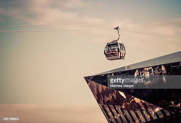 CONTENT] The Emirates cable car coming in towards the Royal Docks Terminal London