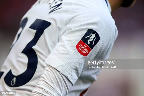 The Emirates FA Cup branding logo on the sleeve of Christian Eriksen of Tottenham Hotspur during The Emirates FA Cup Semi Final match between...