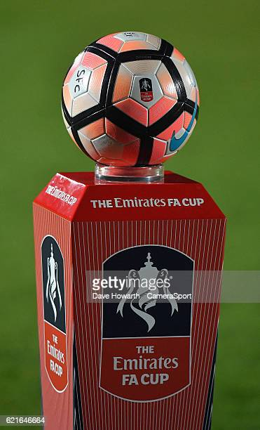 The Emirates FA Cup on display during the The Emirates FA Cup First Round match between Southport and Fleetwood Town at the Merseyrail Community...