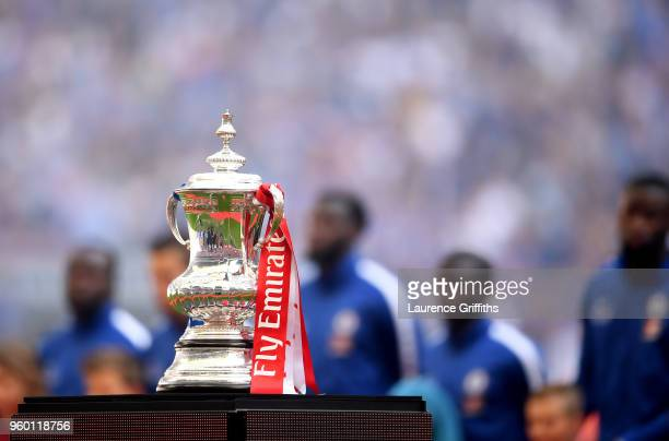 The Emirates FA Cup Trophy is seen inside the stadium prior to The Emirates FA Cup Final between Chelsea and Manchester United at Wembley Stadium on...