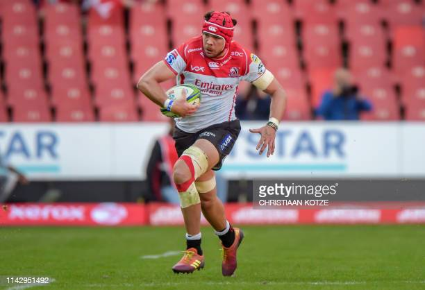 The Emirates Lions' Warren Whiteley runs with the ball during the Super Rugby match, Emirates Lions v NSW Waratahs at the Emirates Airline Park,...