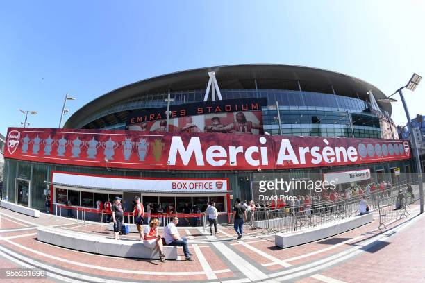 The Emirates Stadium with a 'Merci Arsene' banner displayed before the Premier League match between Arsenal and Burnley at Emirates Stadium on May 6...