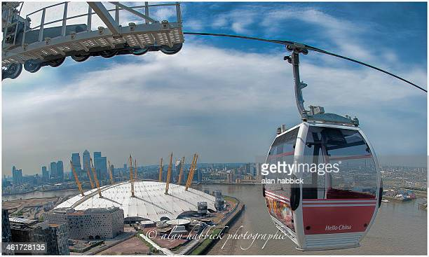 The Emirates Thames River cable car crossing through a FishEye lens to make the cable look bowed.