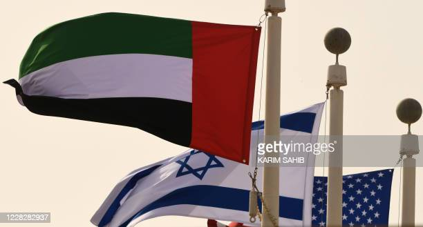 The Emirati Israeli and US flags sway in the wind at the Abu Dhabi airport on August 31 in the firstever commercial flight from Israel to the UAE A...