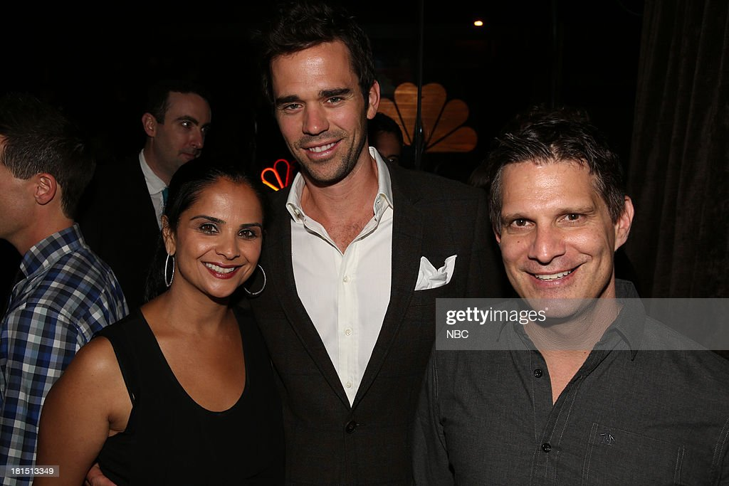 EVENTS -- 'The Emmy Party' -- Pictured: (l-r) Bela Bajaria, Executive Vice President, Universal Television, David Walton from 'About A Boy', at Boa Steakhouse, September 21, 2013 --
