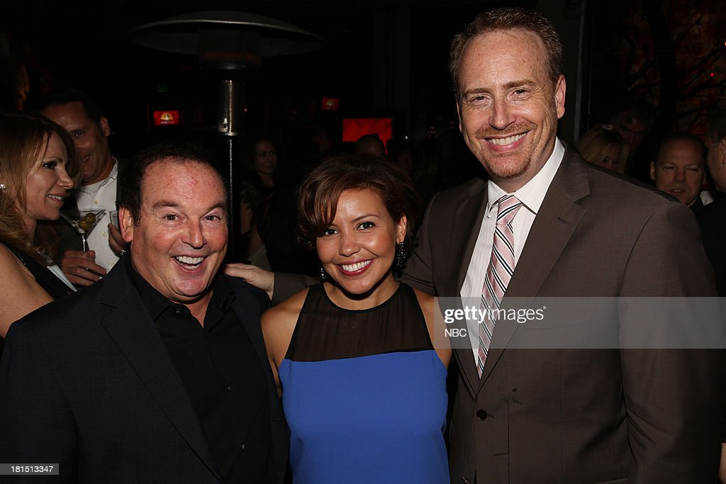 EVENTS -- 'The Emmy Party' -- Pictured: (l-r) David Janollari, Justina Machado from 'Welcome To The Family'; Bob Greenblatt, Chairman, NBC Entertainment at Boa Steakhouse, September 21, 2013 --