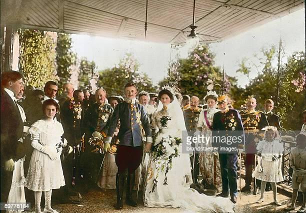 The emperior Franz Joseph I. From Austria on the wedding of archduke Carl Franz Joseph and Princess Zita of Bourbon- Parma in Palais Schwarzau am...