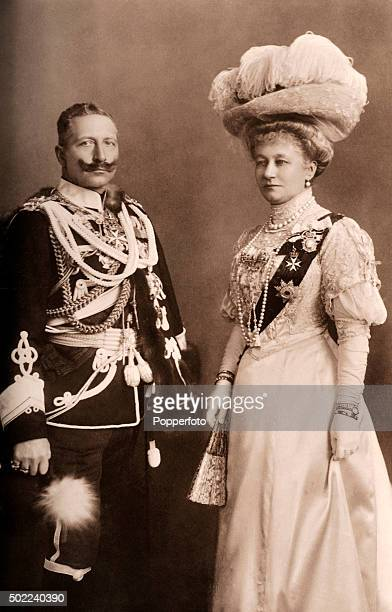 The Emperor and Empress of Germany Kaiser Wilhelm II and and his consort Augusta Victoria during a visit to Windsor Castle on 13th November 1907