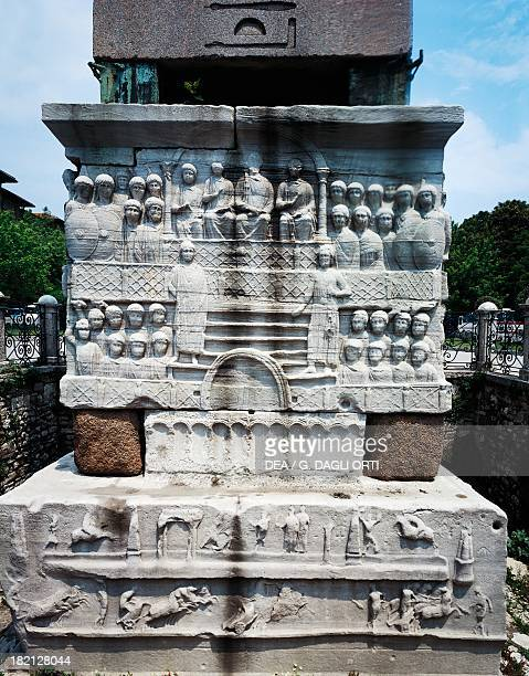 The Emperor attending the chariot race in Hippodrome Square relief from the Obelisk of Theodosius Istanbul Turkey Roman Civilisation 390 AD