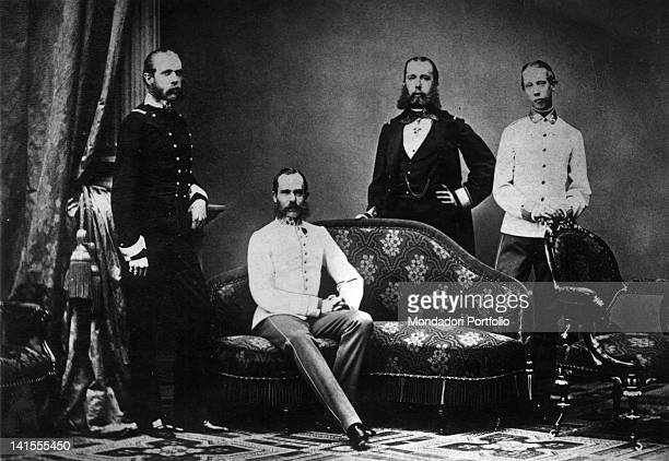 The Emperor Francis Joseph of Austria posing with his three brothers, the Archduke Maximilian, later Emperor of Mexico, Charles Louis and Louis...