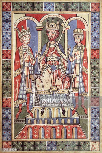 The Emperor Frederick Barbarossa with his sons Henry VI and Frederick Duke of Swabia from the Welfenchronik chronicle from the Abbey of Weingarten...