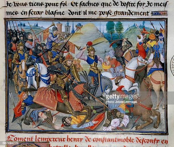 The Emperor of Constantinople Henry I of Flanders Hainaut during a battle Miniature from the Abbreviated chronicle by David Aubert 15th century...