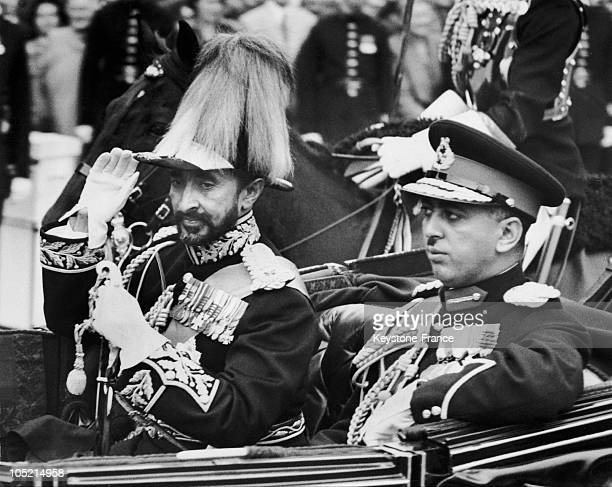 The Emperor Of Ethiopia Haile Selassie And His Son Prince Makonnen Duke Of Harar Filing By On Trafalgar Square In London On October 15 1954 During An...