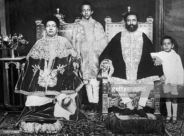 The Emperor Of Ethiopia Haile Selassie In 1930 Little After His Crowning At AddisAbeba Surrounded By His Family His Son Crown Prince AsfaWossen...