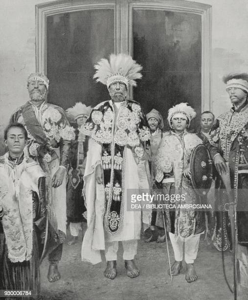 The Emperor of Ethiopia Menelik II with the heir to the throne LiJ Iyasu and government dignitaries in Addis Ababa Ethiopia from L'Illustrazione...