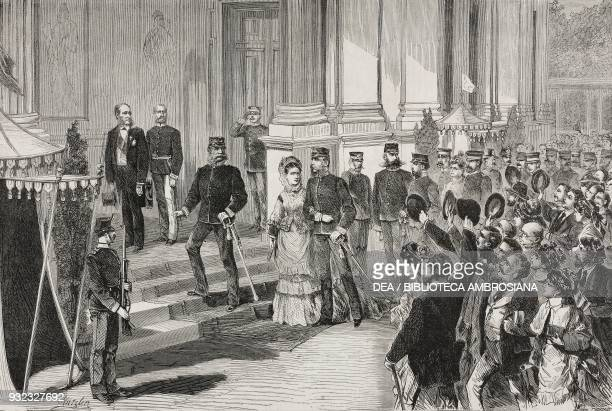 The Emperor of Germany William I visiting the Vienna Universal Exhibition October 22 Austria illustration from Album della Esposizione Universale di...