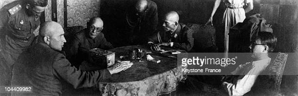 The Emperor of Manchukuo PUYI being interrogated by the Russian General PRITOUL after his arrest around October 1945